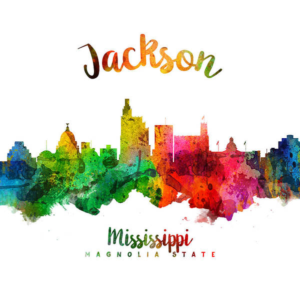 Wall Art - Painting - Jackson Mississippi Skyline 24 by Aged Pixel
