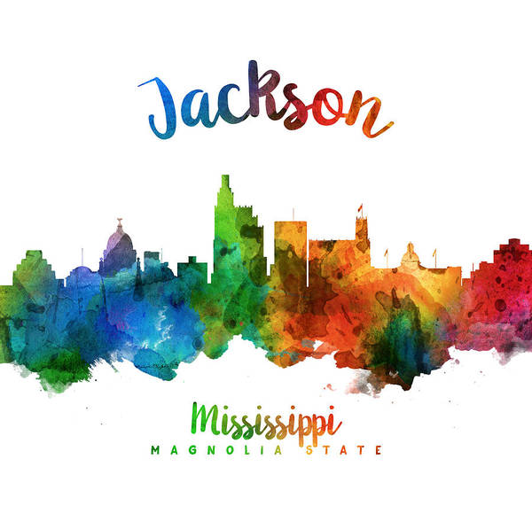 Wall Art - Painting - Jackson Mississippi Skyline 25 by Aged Pixel