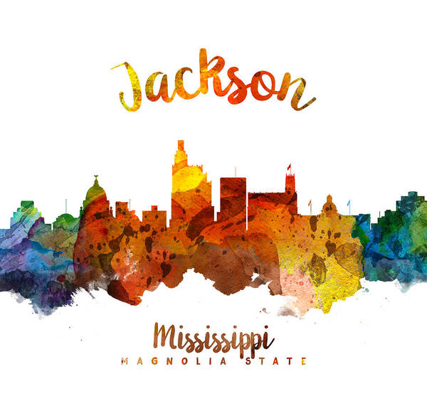Wall Art - Painting - Jackson Mississippi Skyline 26 by Aged Pixel
