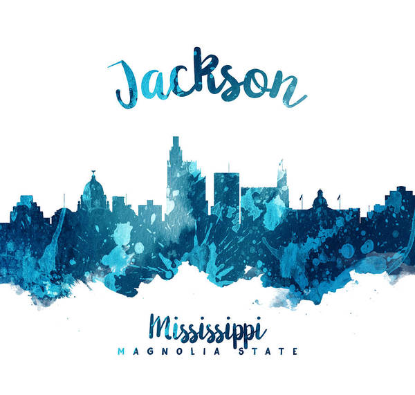 Wall Art - Painting - Jackson Mississippi Skyline 27 by Aged Pixel