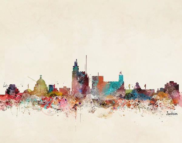Wall Art - Painting - Jackson Mississippi Skyline by Bri Buckley