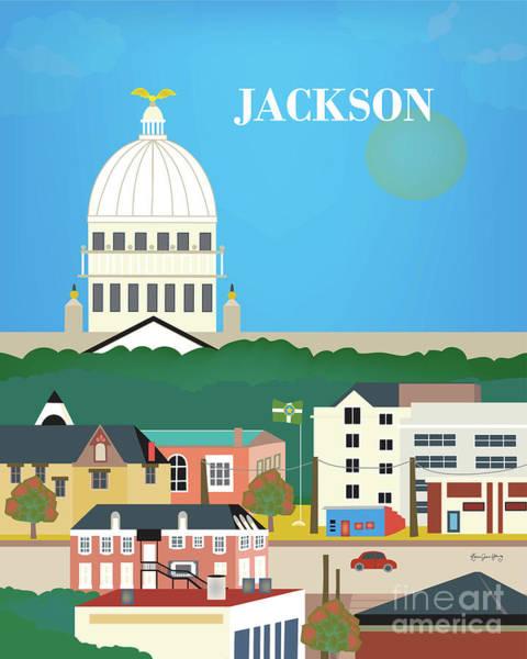 Wall Art - Digital Art - Jackson Mississippi Vertical Skyline by Karen Young