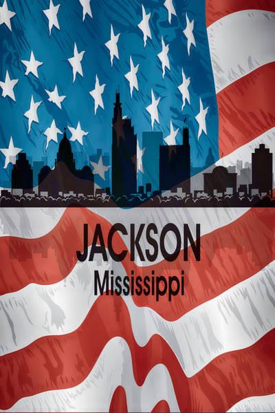 Digital Art - Jackson Ms American Flag Vertical by Angelina Tamez