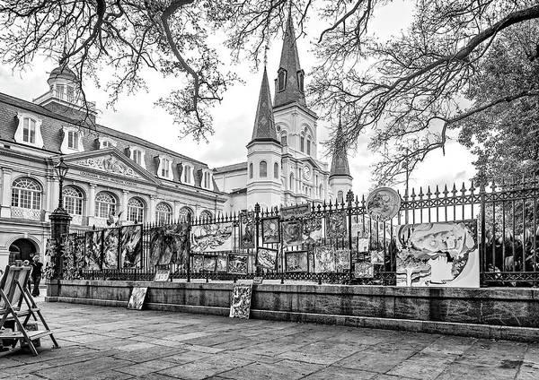 Cabildo Wall Art - Photograph - Jackson Square Winter 3 - Bw by Steve Harrington