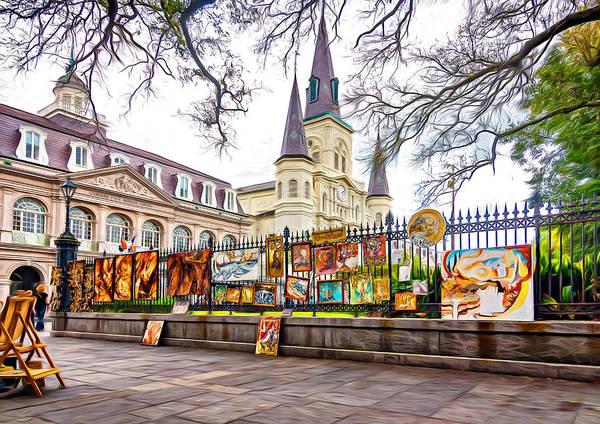 Cabildo Wall Art - Photograph - Jackson Square Winter 3 - Paint by Steve Harrington