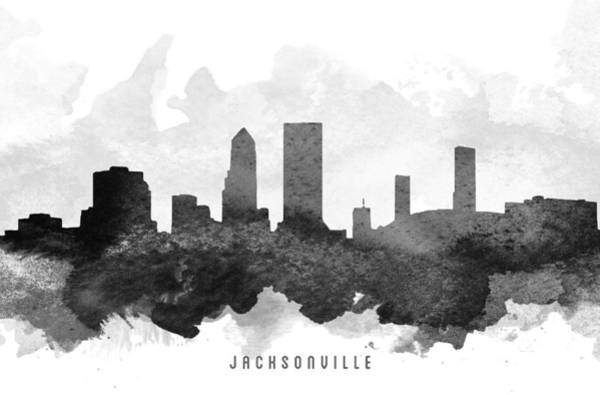 Florida City Painting - Jacksonville Cityscape 11 by Aged Pixel