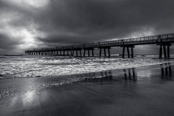 Photograph - Jacksonville Pier In The Fog At Dawn Black And White by Debra and Dave Vanderlaan