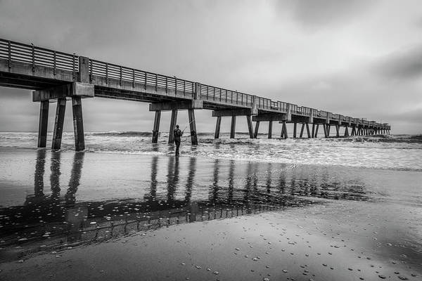 Photograph - Jacksonville Pier In The Fog At Sunrise In Black And White by Debra and Dave Vanderlaan