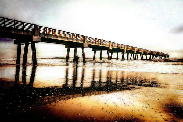 Photograph - Jacksonville Pier In The Foggy Glow At Sunrise by Debra and Dave Vanderlaan
