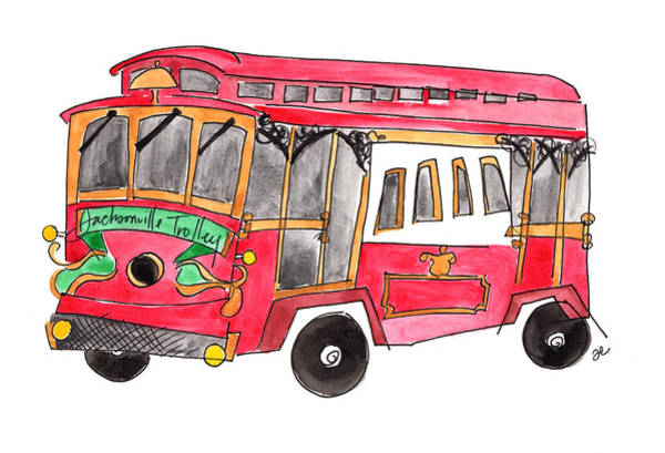 Painting - Jacksonville Trolley by Anna Elkins