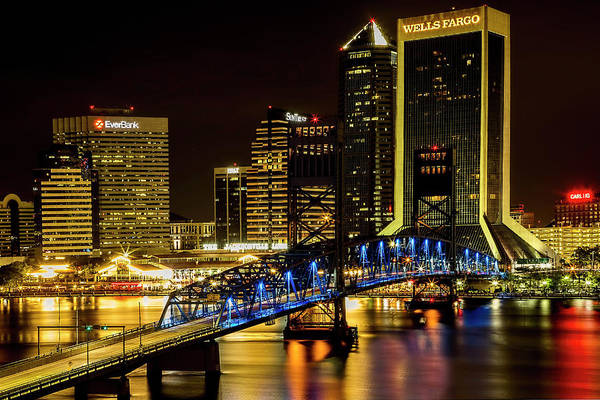 Photograph - Jacksonville's Nighttime Skyline  by Kay Brewer