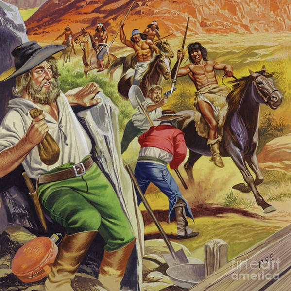 Wall Art - Painting - Jacob Waltz And His Friend Being Attacked By Apache Indians by Ron Embleton