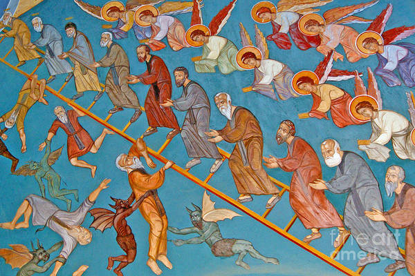 Stairway To Heaven Wall Art - Painting - Jacobs Ladder by Cypriot School
