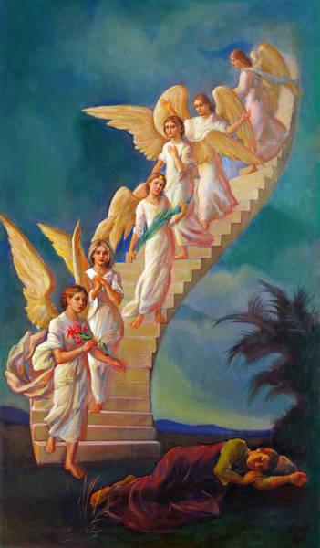 Wall Art - Painting - Jacob's Ladder - Jacob's Dream by Svitozar Nenyuk