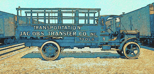 Digital Art - Jacobs Transfer Company 1917 White Truck by David King