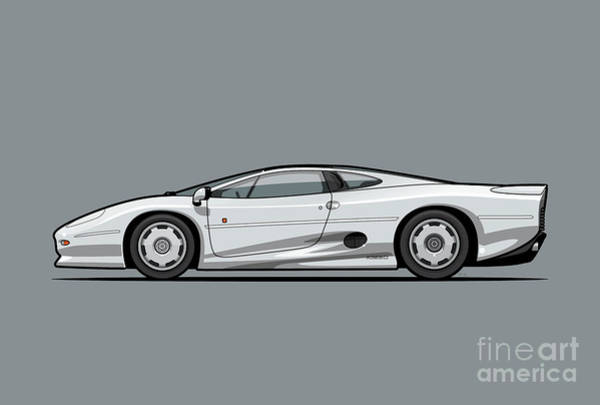 Collector Digital Art - Jag Xj220 Spa Silver by Monkey Crisis On Mars