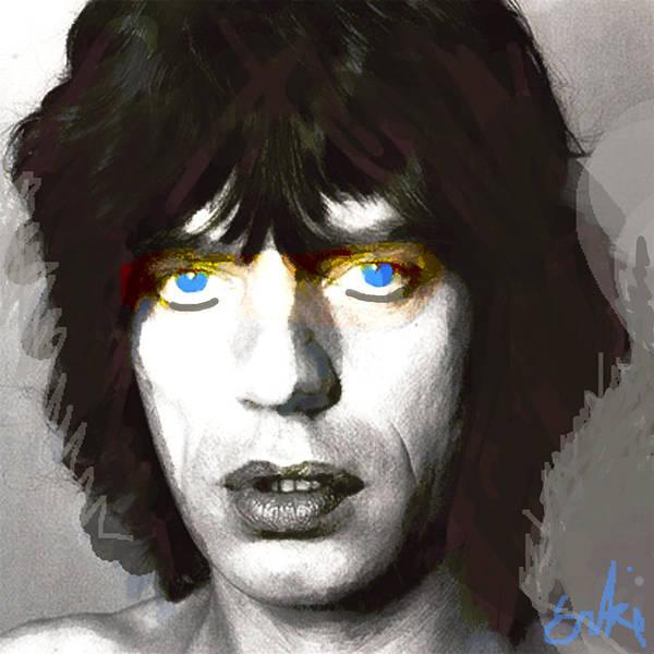 Blue Oyster Cult Wall Art - Drawing - Jagger 1960s By Enki  by Enki Art