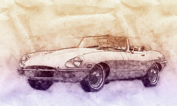 Best Selling Mixed Media - Jaguar E-type 2 - Jaguar Xk-e - Sports Car - Automotive Art - Car Posters by Studio Grafiikka