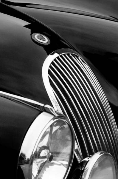 Wall Art - Photograph - Jaguar Grille Black And White by Jill Reger