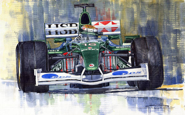 Car Painting - Jaguar R3 Cosworth F1 2002 Eddie Irvine by Yuriy Shevchuk