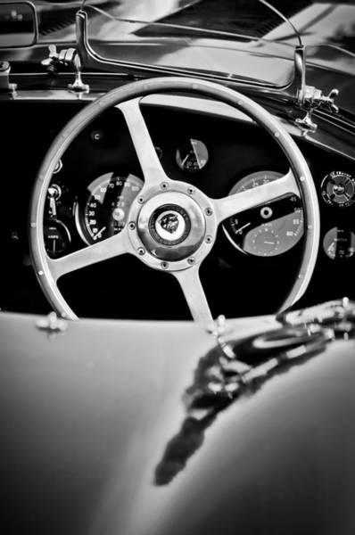 Photograph - Jaguar Steering Wheel -0797bw by Jill Reger