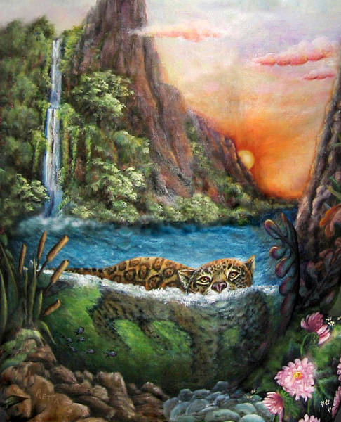 Jaguar Sunset  Art Print