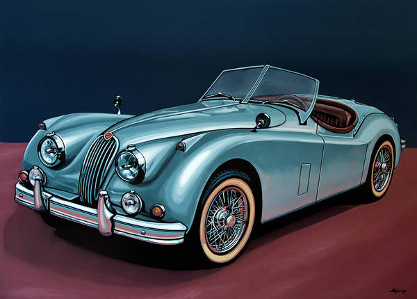 Roadster Wall Art - Painting - Jaguar Xk140 1954 Painting by Paul Meijering