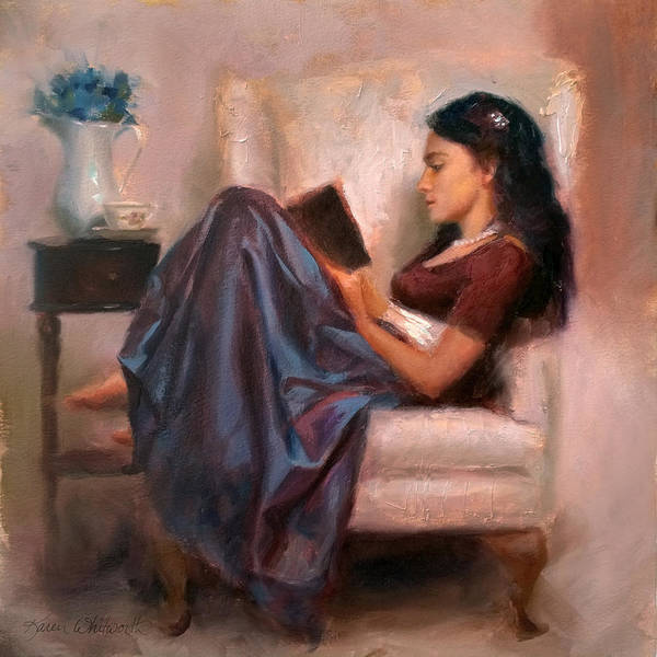 Woman Reading Wall Art - Painting - Jaidyn Reading A Book 2 - Portrait Of Woman by Karen Whitworth