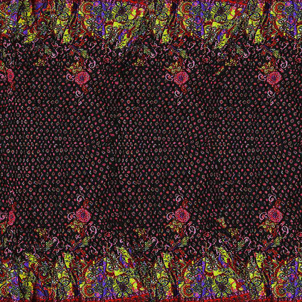 Madhubani Mixed Media - Jaipur Print Flower Border Red N Black Beads Dots Texture Artistic Decor Wall Hanging Fabric Art by Navin Joshi