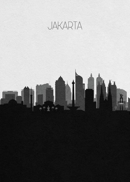 Souvenir Digital Art - Jakarta Cityscape Art by Inspirowl Design