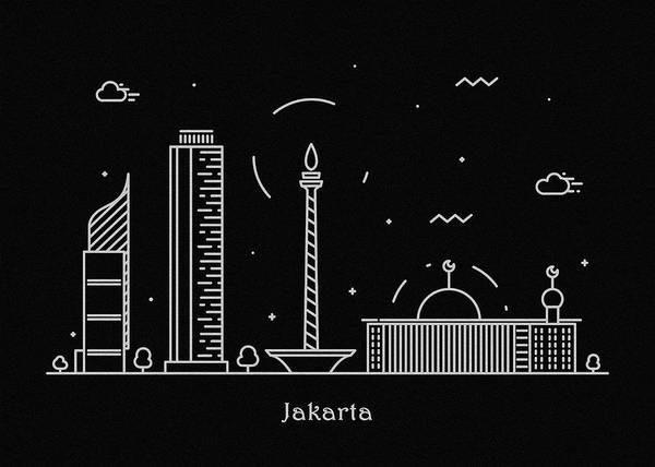 Jakarta Skyline Travel Poster Art Print