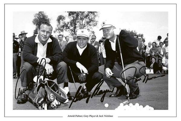 Hogan Photograph - Jakc Nicklaus, Gary Player Amd Arnold Palmer 1962 Masters by Peter Nowell