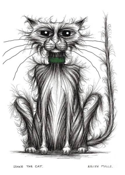 Miserable Drawing - Jake The Cat by Keith Mills
