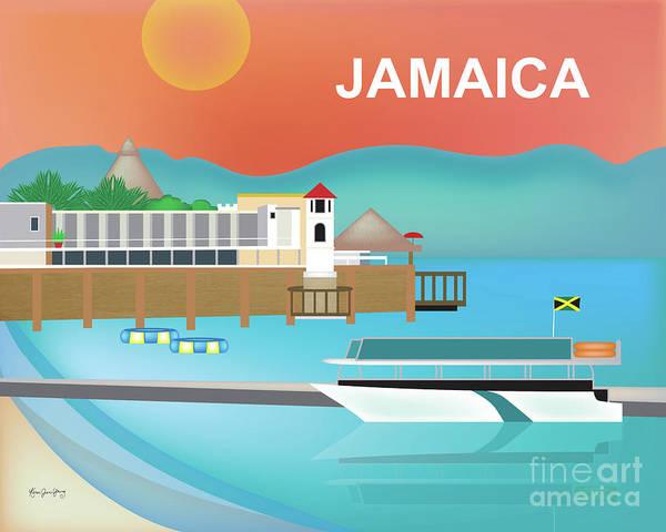 Jamaica Digital Art - Jamaica Horizontal Scene by Karen Young