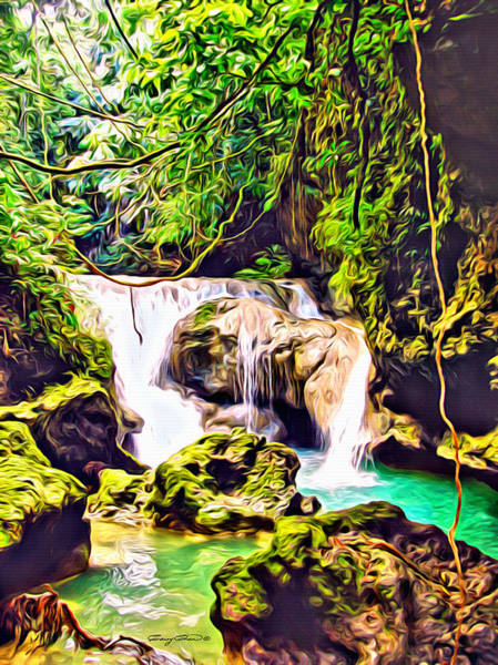 Wall Art - Digital Art - Jamaica Waterfall by Anthony C Chen