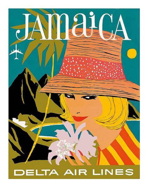 Delta Air Lines Wall Art - Digital Art - Jamaica Woman With Orchid Vintage Airline Travel Poster by Retro Graphics