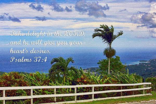 Scripture Photograph - Jamaican Ocean View Ps. 37v4 by Linda Phelps
