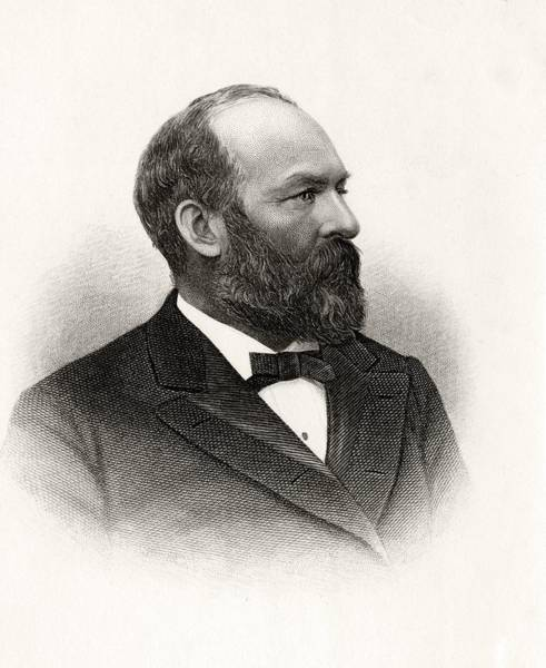 Log Drawing - James Abram Garfield 1831 To 1881 20th by Vintage Design Pics