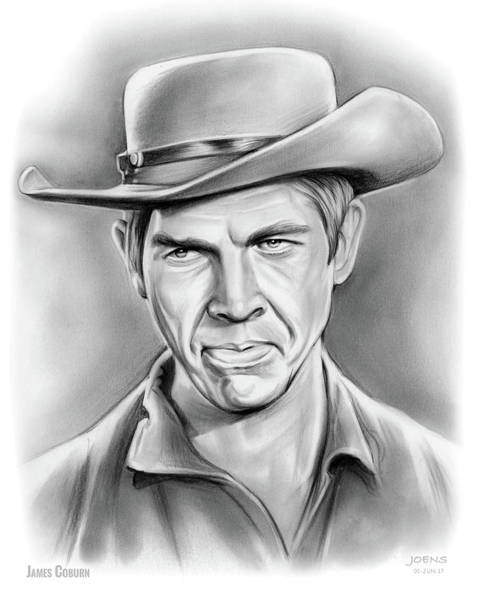 Professional Drawing - James Coburn by Greg Joens