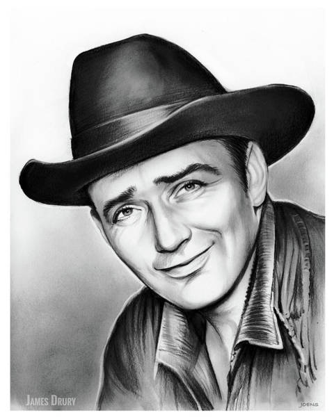 James Wall Art - Drawing - James Drury by Greg Joens