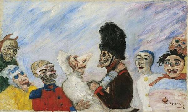 Wall Art - Painting - James Ensor   Squelette Arretant Masques  Skeleton Stopping The Masks   1891  by James Ensor