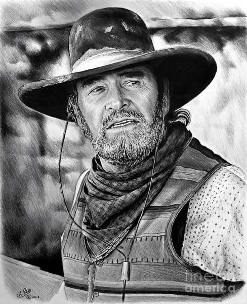 Wall Art - Drawing - James Garner As Captain F Call by Andrew Read