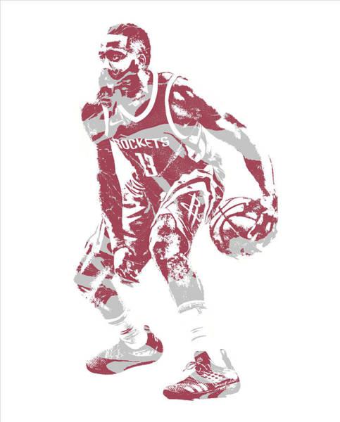Wall Art - Mixed Media - James Harden Houston Rockets Pixel Art 35 by Joe Hamilton