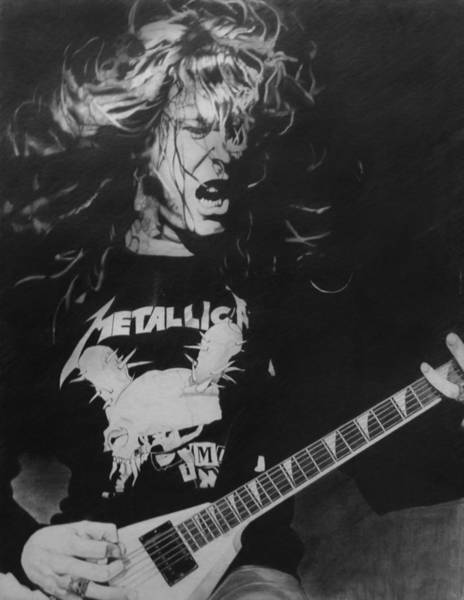 Thrash Metal Wall Art - Drawing - James Hetfield Pencil 1987 by Brian Carlton
