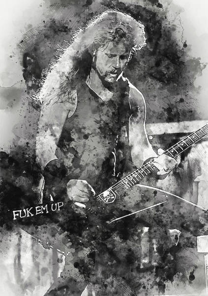 Thrash Metal Painting - James Hetfield - Watercolor 01 by Andrea Mazzocchetti