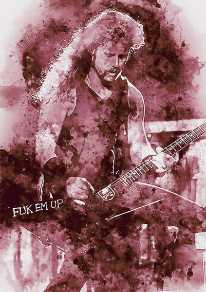Thrash Metal Painting - James Hetfield - Watercolor 02 by Andrea Mazzocchetti
