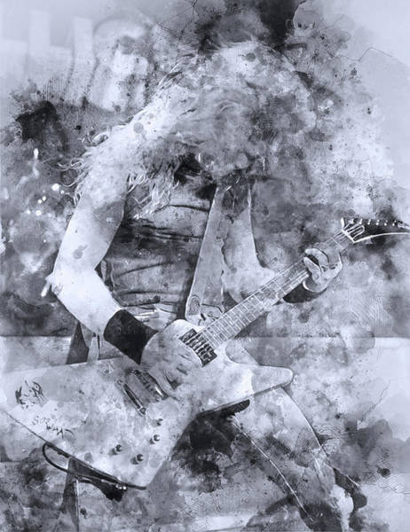 Thrash Metal Painting - James Hetfield - Watercolor 03 by Andrea Mazzocchetti