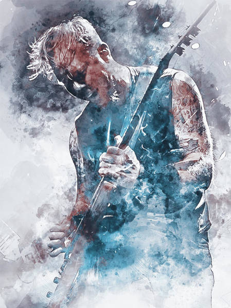 Thrash Metal Painting - James Hetfield - Watercolor 05 by Andrea Mazzocchetti