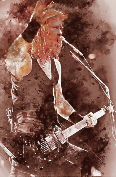 Thrash Metal Painting - James Hetfield - Watercolor 06  by Andrea Mazzocchetti
