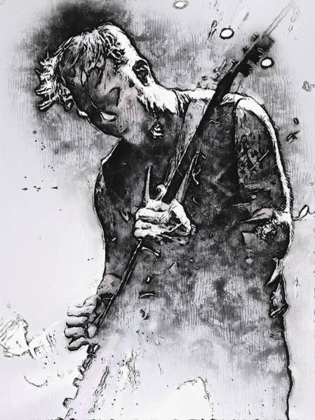 Thrash Metal Painting - James Hetfield - Watercolor 07 by Andrea Mazzocchetti